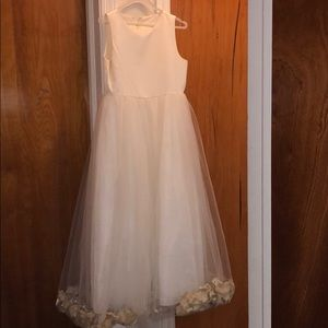 Other - White wedding flower gold petal dress